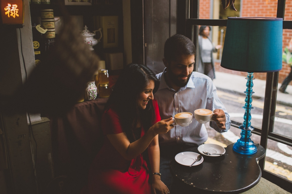 intimate engagement couple shoot in a London coffee shop