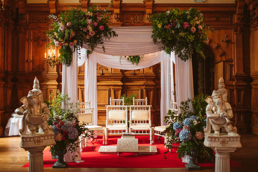 Asian Mandap for a Hindu wedding at Harlaxton Manor