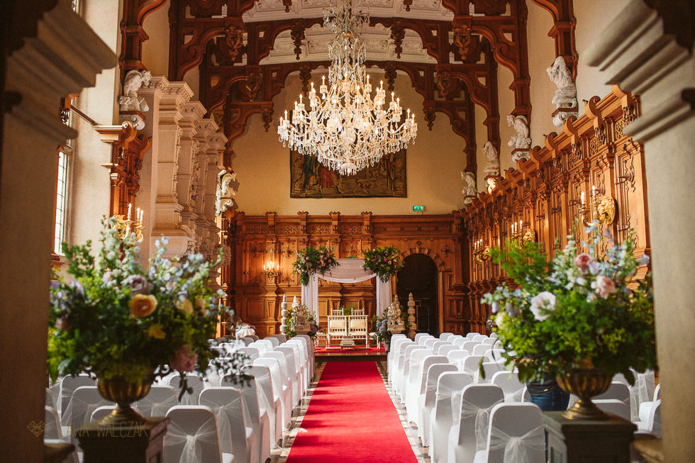 Mandap set up for Hindu wedding at Harlaxton Manor