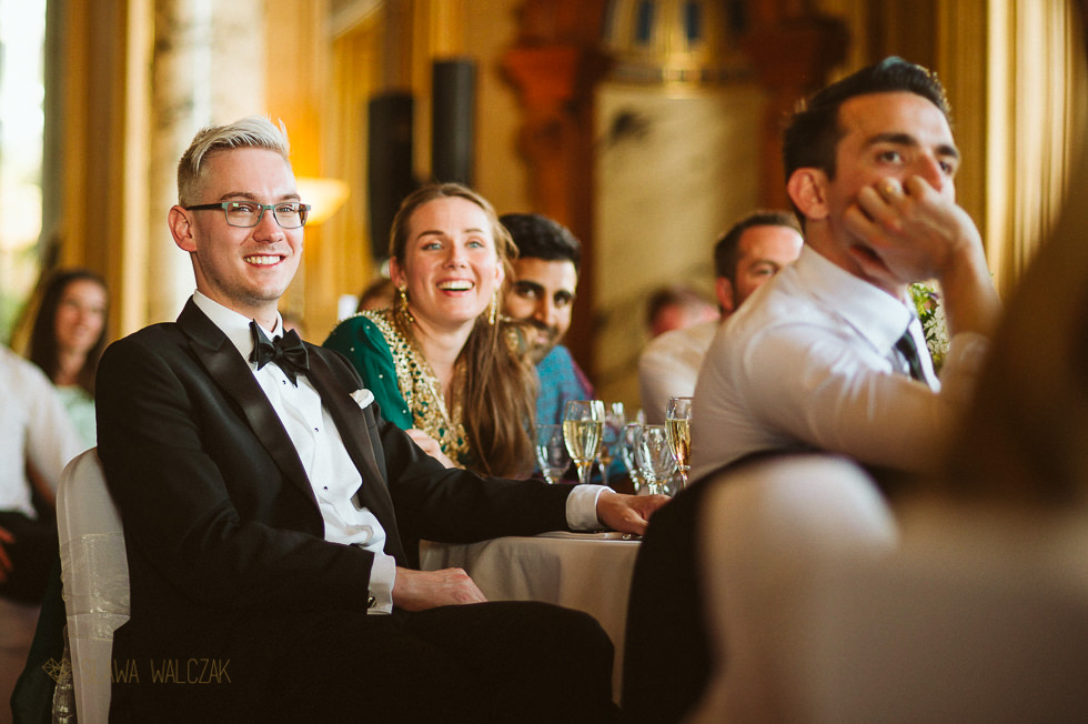 Guests at Asian wedding at Harlaxton Manor