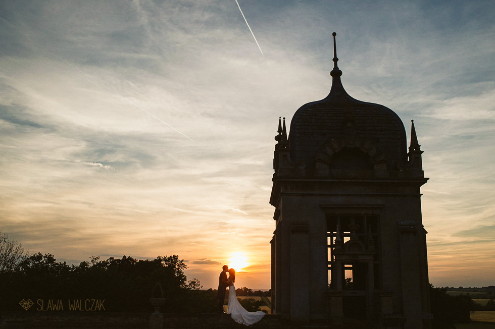 Sunset couple photos at an Asian Wedding at Harlaxton Manor Grantham