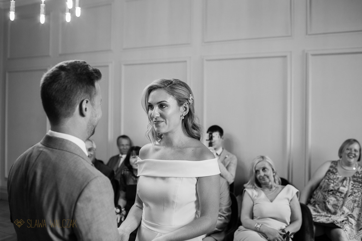 bride crying during her civil wedding at Old Marylebone Town Hall London