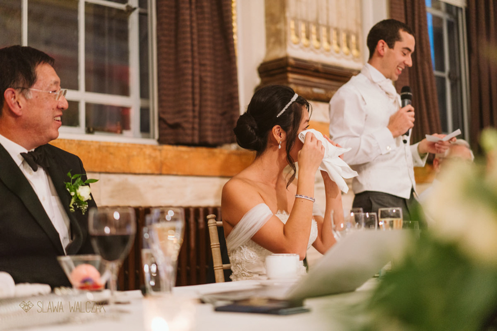 emotional bride at a Luxury wedding at One Great George street in London