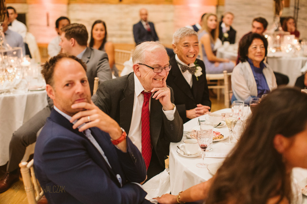 guests laughing at the speeches at a wedding in One Great George street