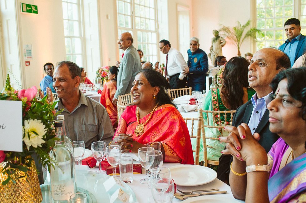 guests photo during speeches at the Orangery Wedding in Kew Gardens