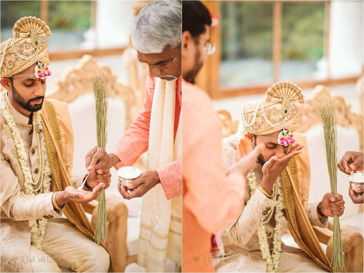 Groom during his Hindu Wedding in the Nash Conservatory Kew Gardens