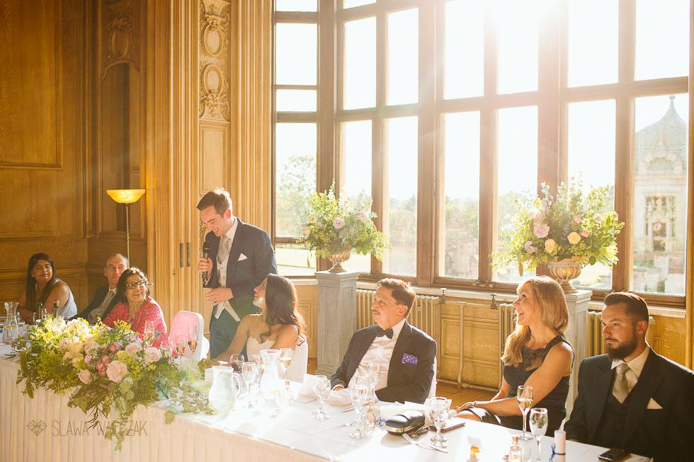 Groom sepeeches at an Asian Wedding photography at Harlaxton Manor