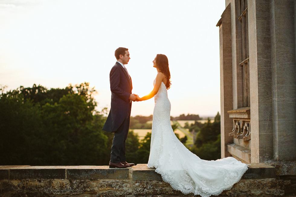 Sunset couple photos at an Asian Wedding at Harlaxton Manor Grantham