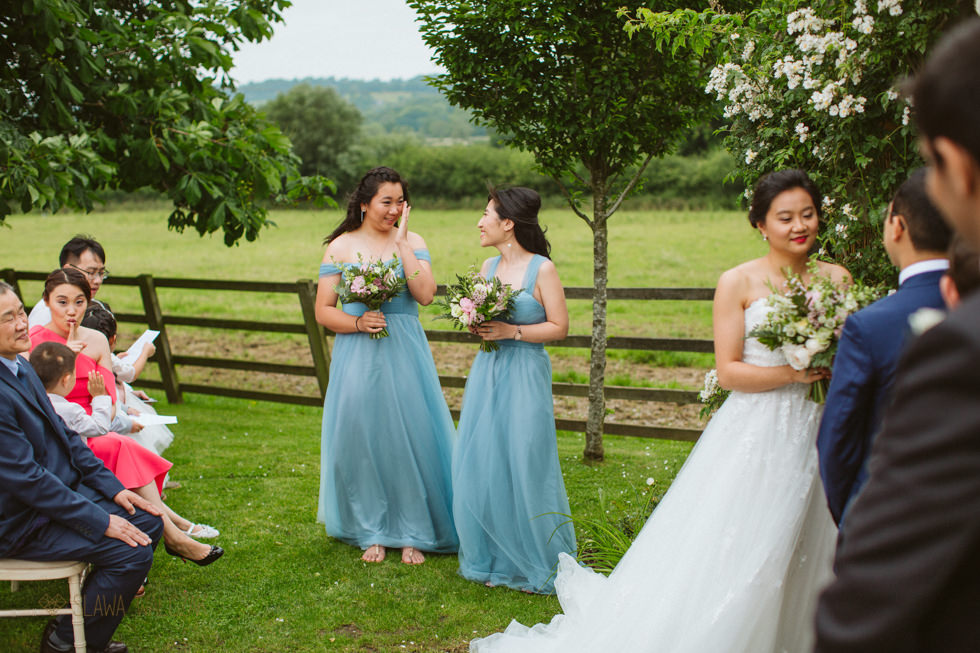 Outdoor ceremony photos from a Chinese Civil wedding at Hyde Barn Costswold