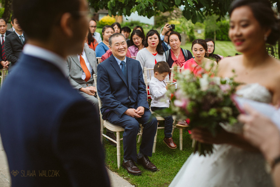 smiling father during an outdoor civil wedding at Hyde Barn Cotswold