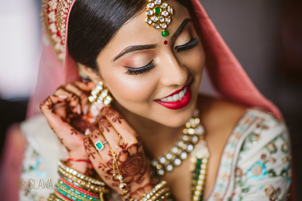 Indian bridal preparations for a wedding at rhe Great Barn at Headston Manor