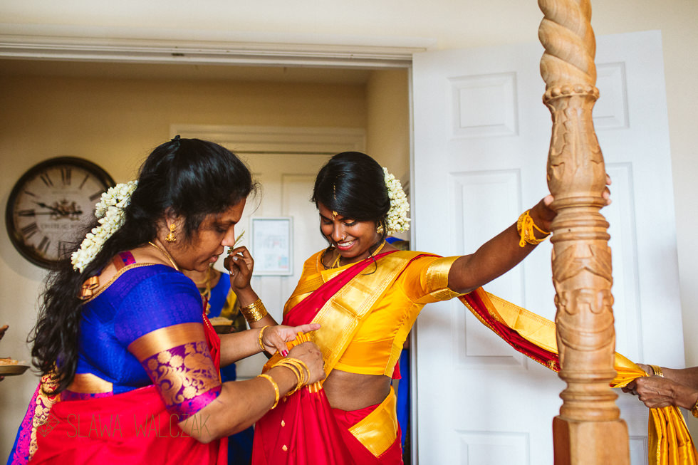 Tamil Bride is getting ready for her wedding at Froyle Park