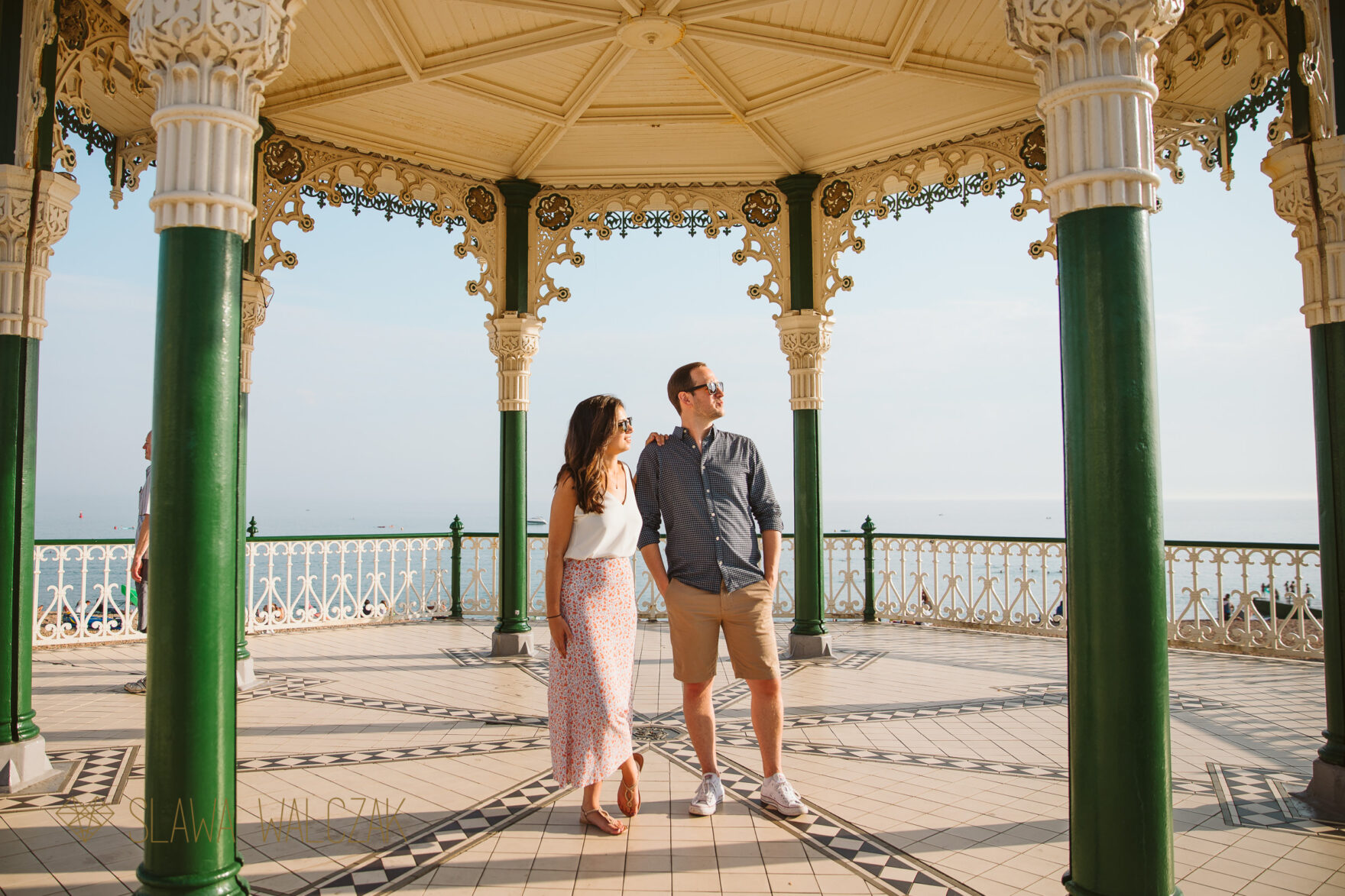 Fin and romantic photos from Brighton Beach Engagement photo shoot