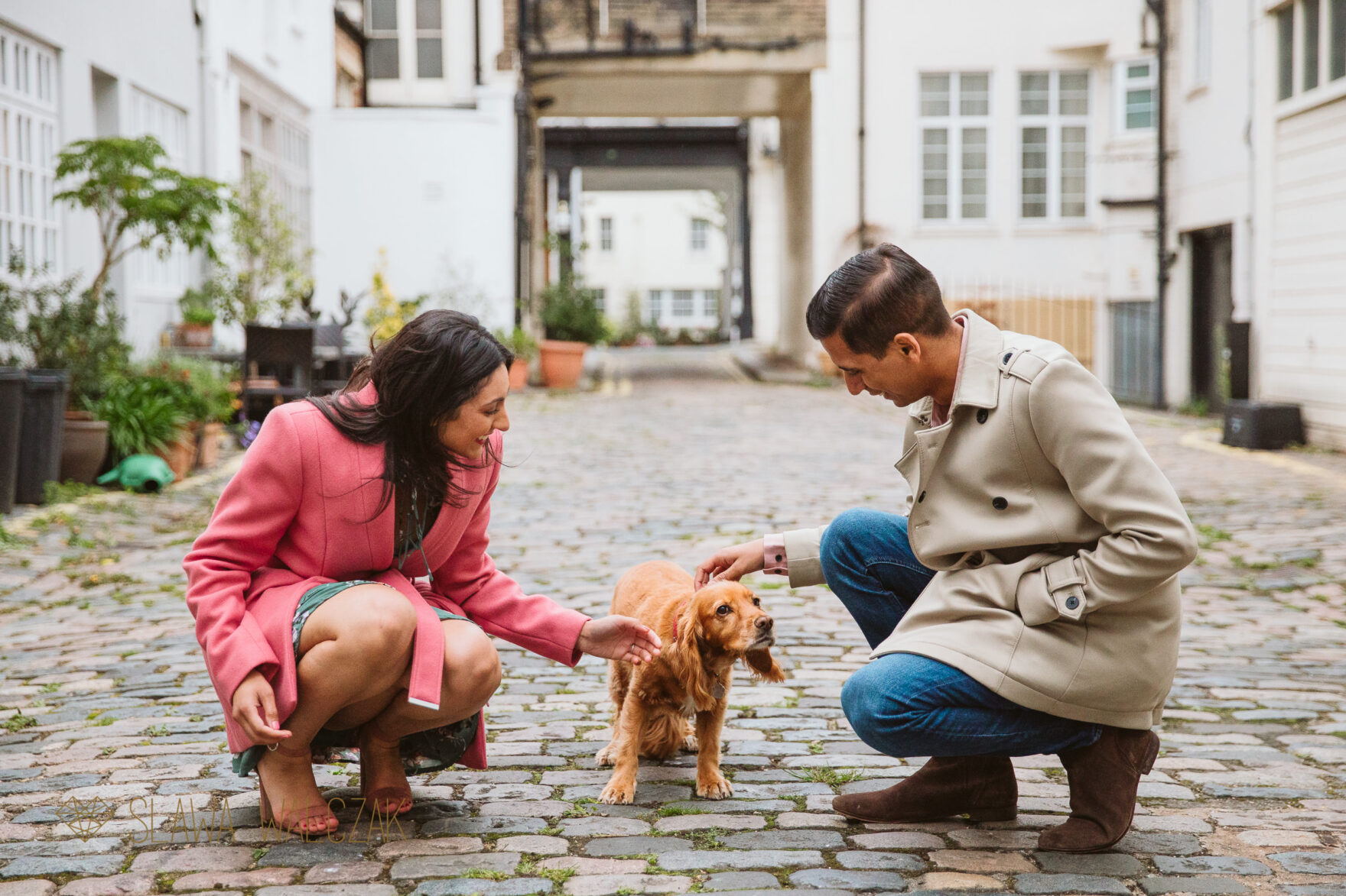 natural pre wedding photos from Paddington Mews in London