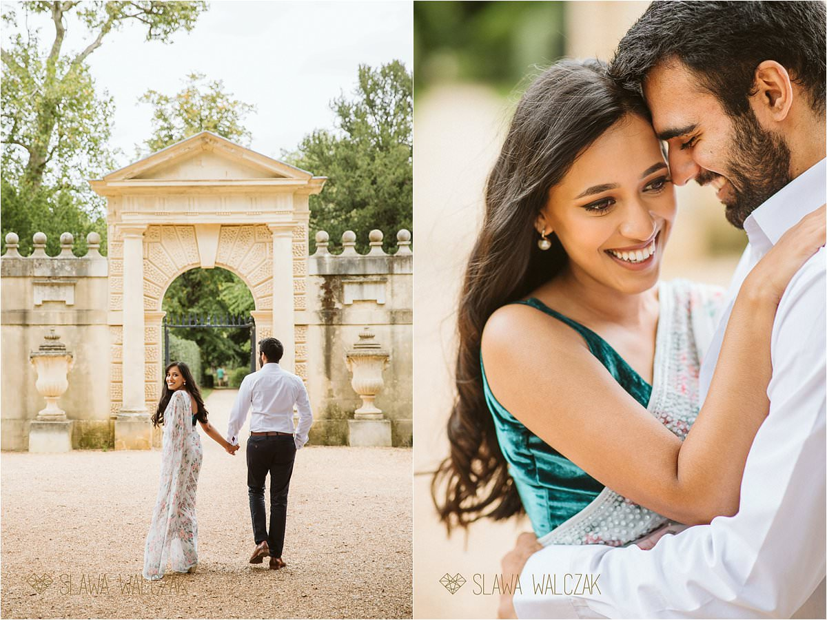 Pre wedding photography Chiswick House gorgeous Asian Couple smile for photos