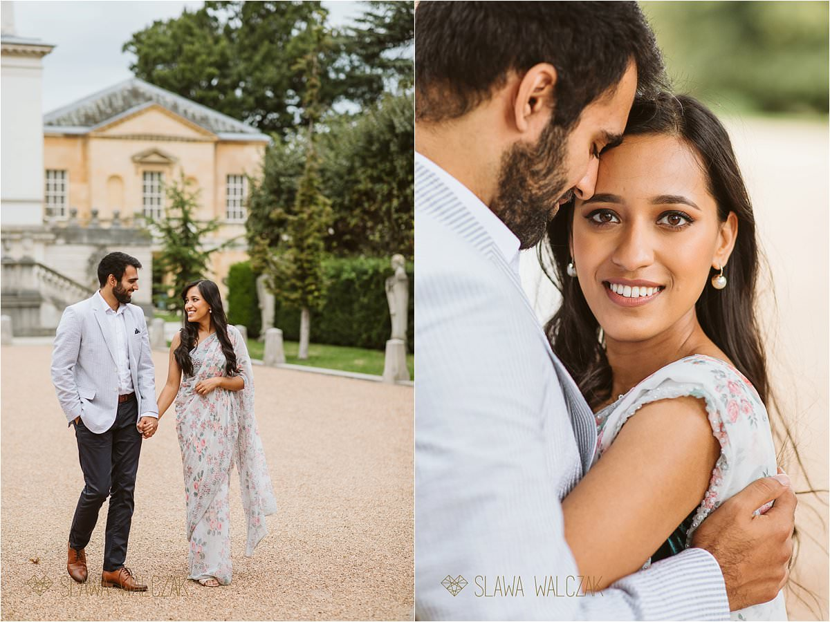 Pre wedding photography Chiswick House Asian couple walking and posing for photos