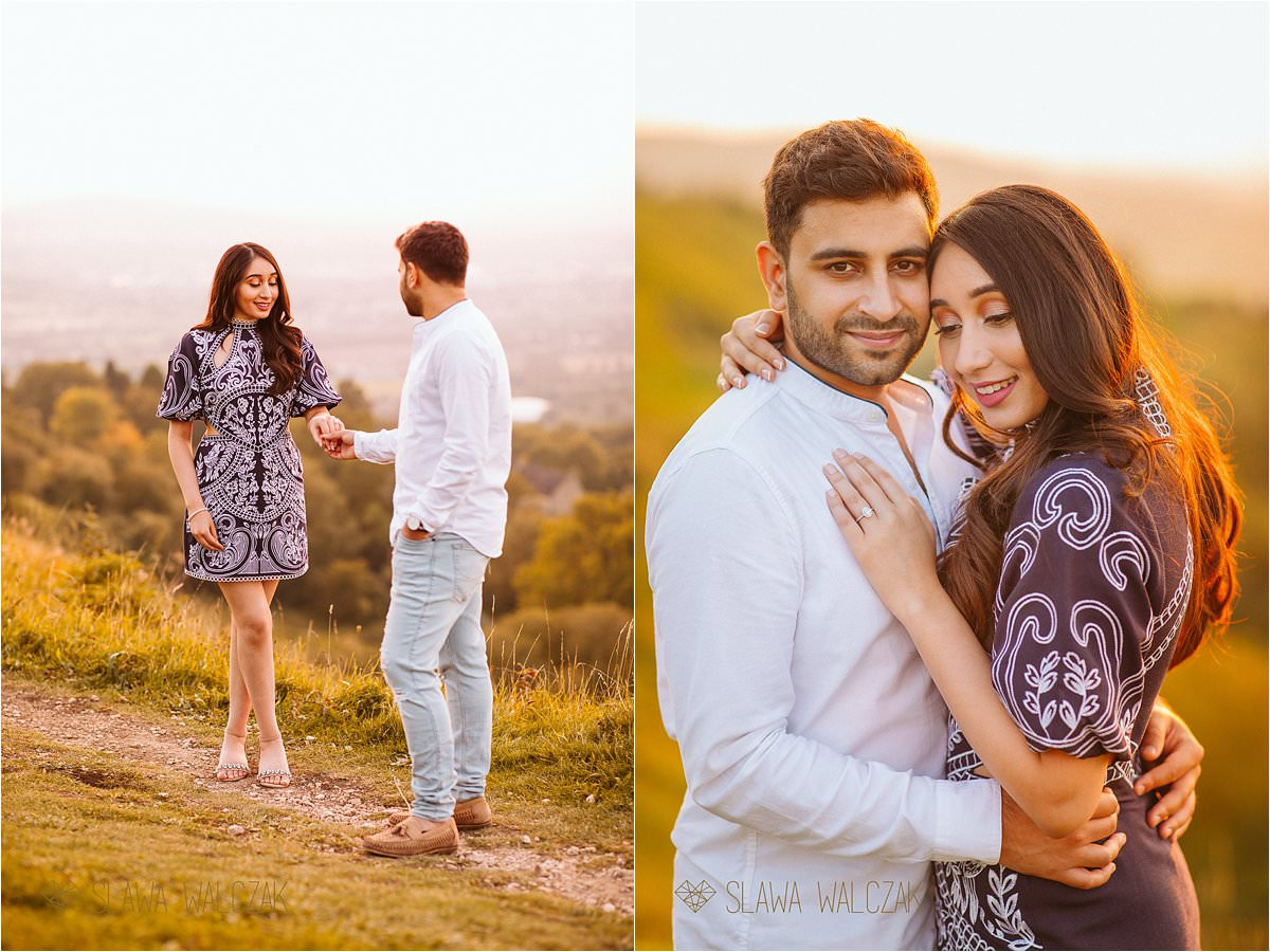 newely engaged couple posing for their sunset photos