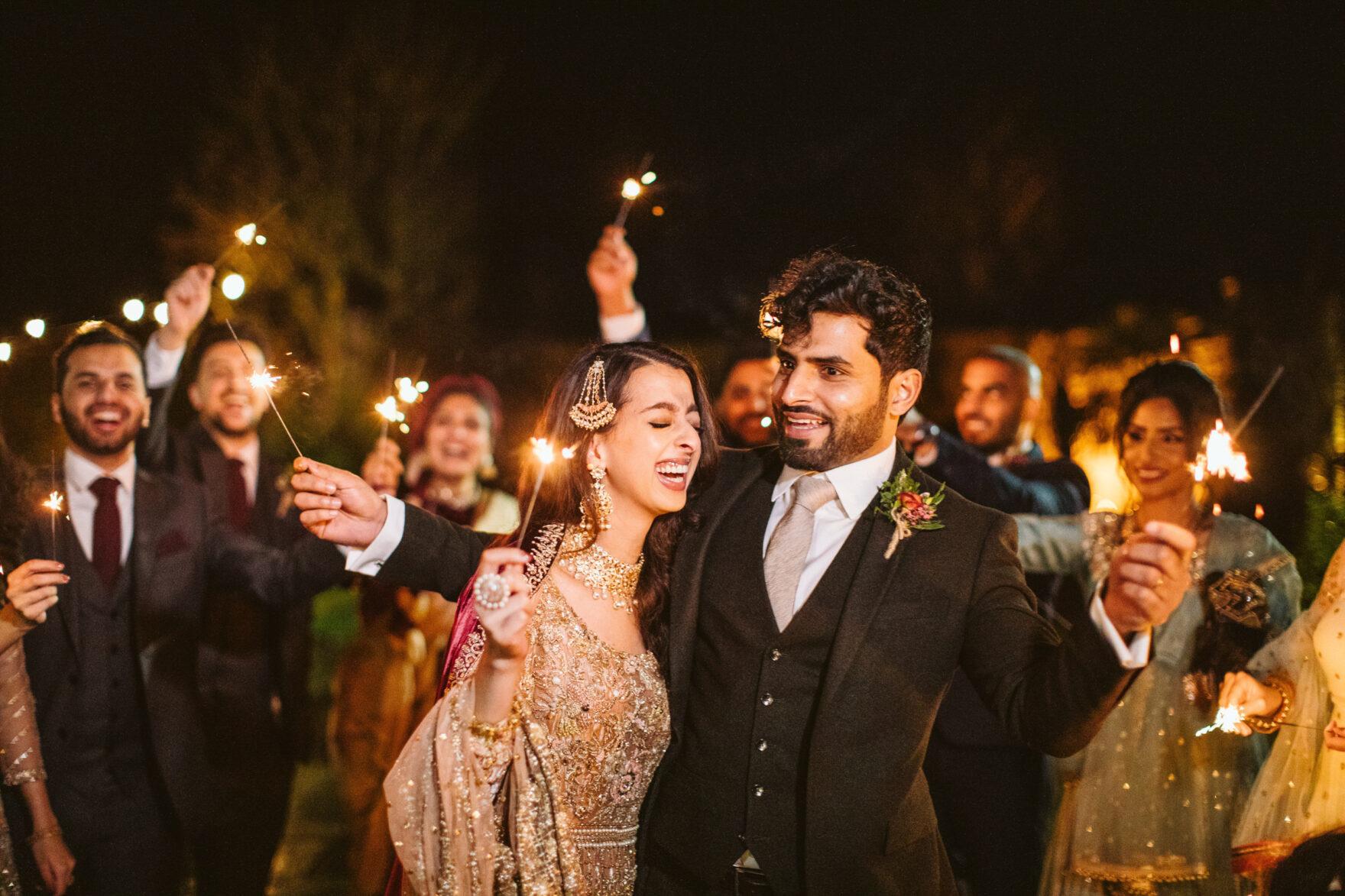 sparkler send off at a Nikkah Muslim Wedding