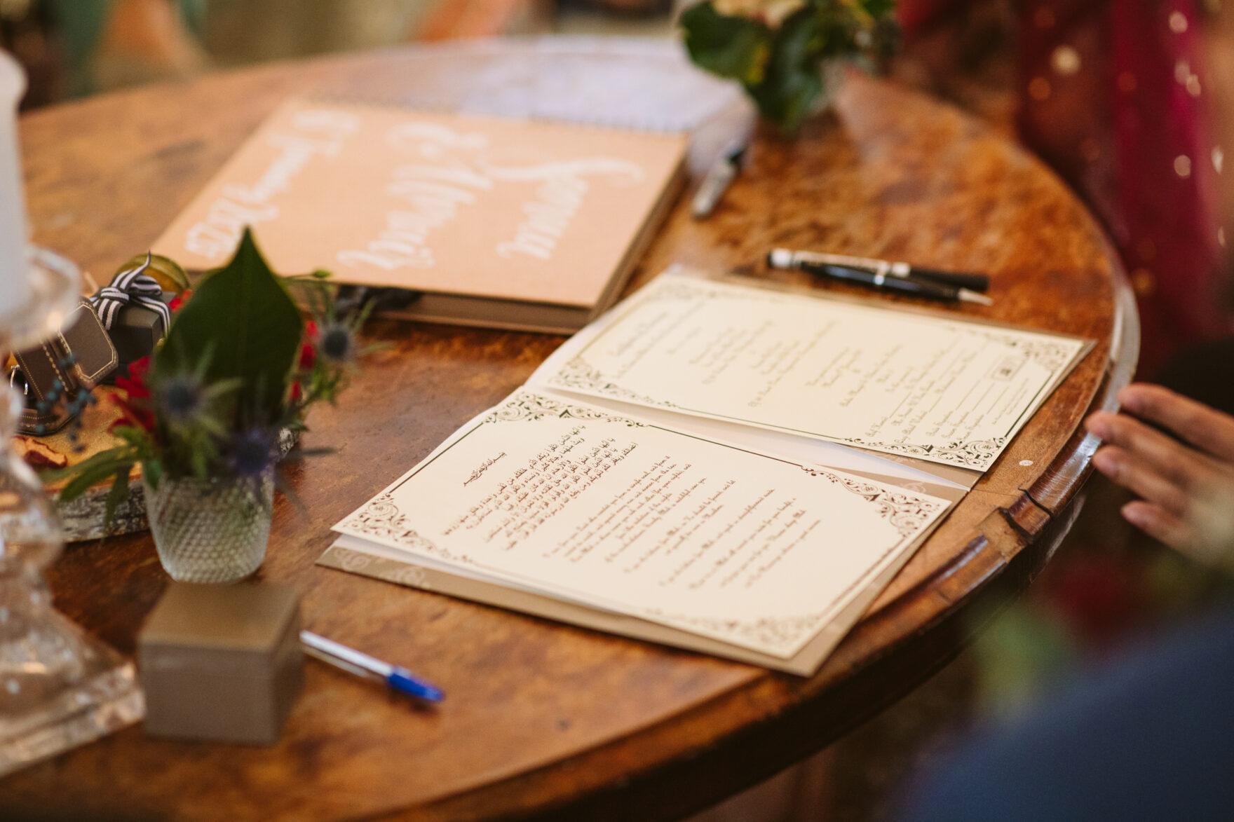 Islamic Marriage documents ata Muslim wedding in London