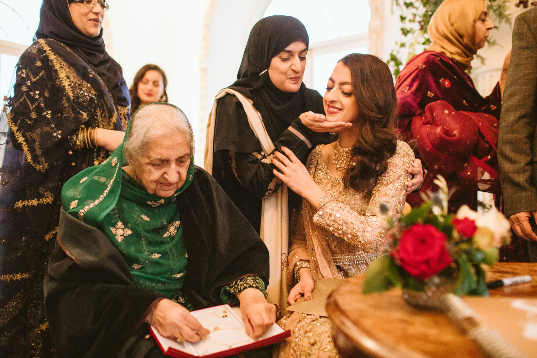 Islamic Bride at a London Nikkah Wedding with her guests