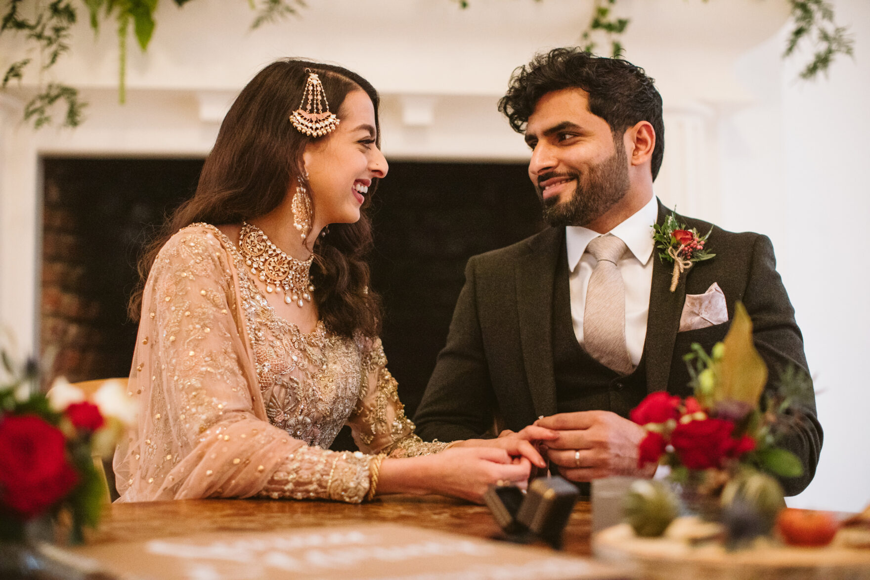 Islamic wedding photography London ring exchange